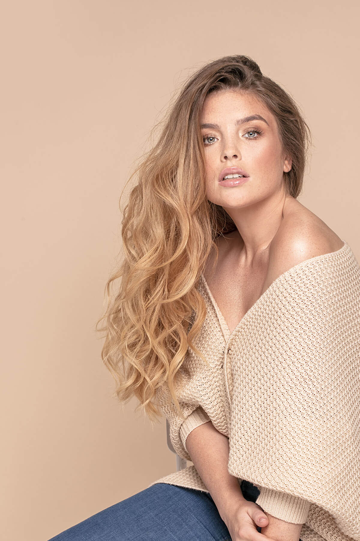Sunday Salon: Fashion photo of woman with freckles and long hair.